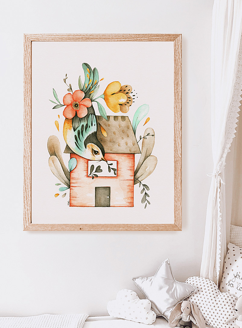 Mélanie Foster Illustrations Assorted House and bird art print 2 sizes available