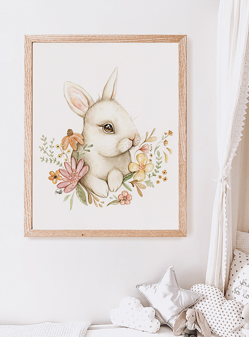 Mélanie Foster Illustrations Assorted white  Cute white rabbit art print 2 sizes available