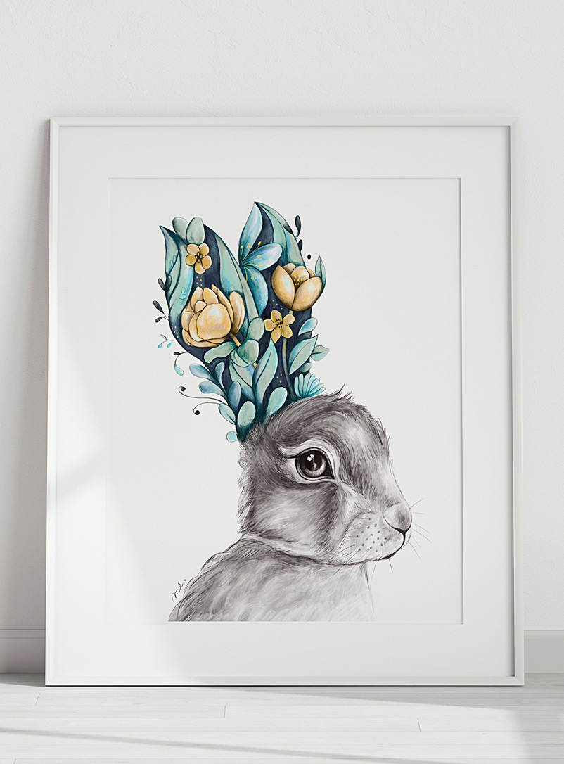 Mélanie Foster Illustrations Assorted Floral hare art print 2 sizes available