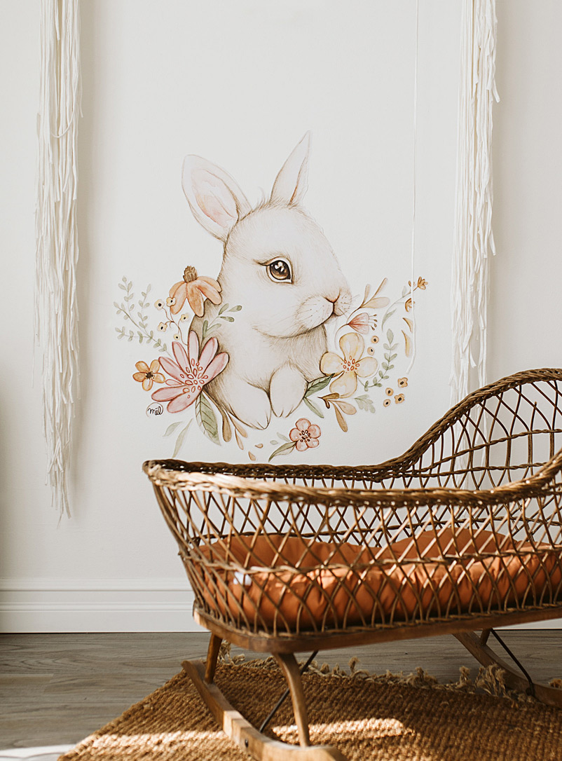 Mélanie Foster Illustrations Assorted white  Cute white rabbit wall sticker