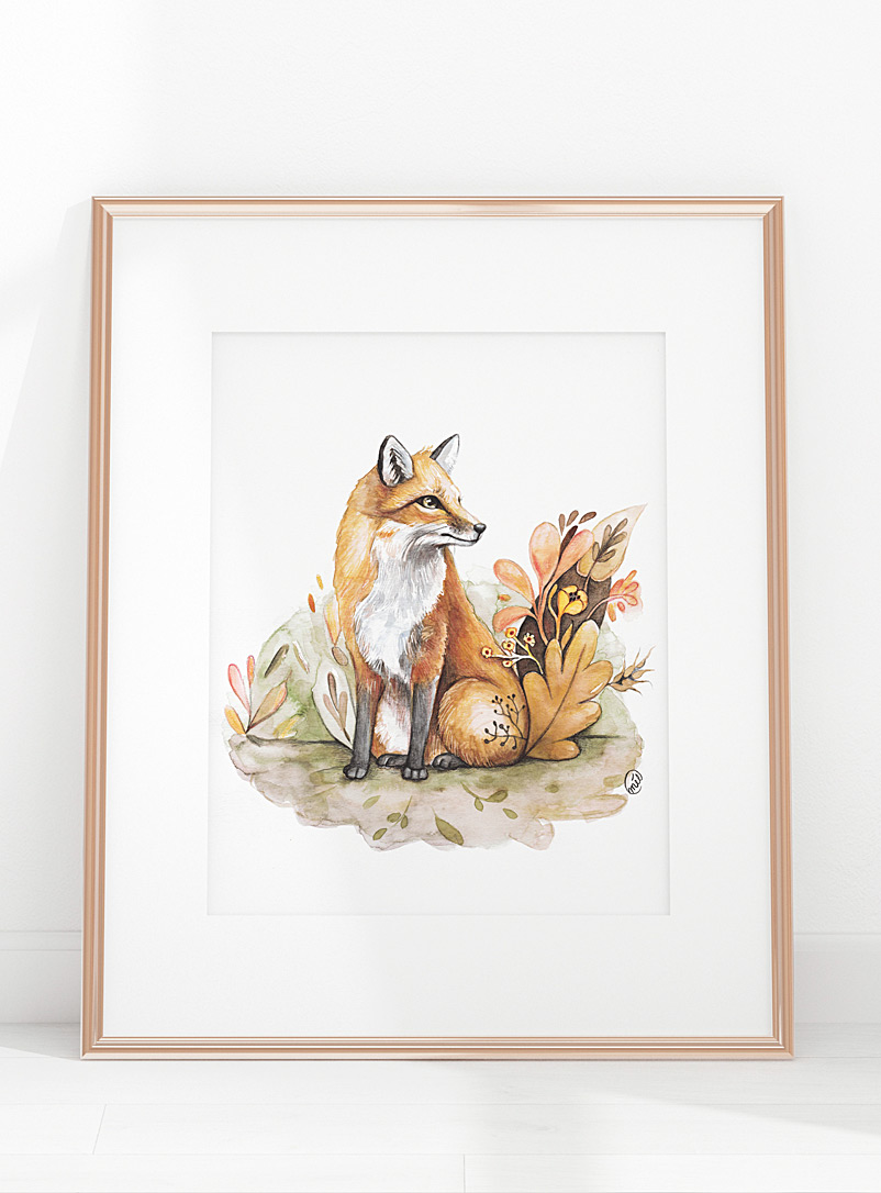 Mélanie Foster Illustrations Assorted Floral fox art print 2 sizes available