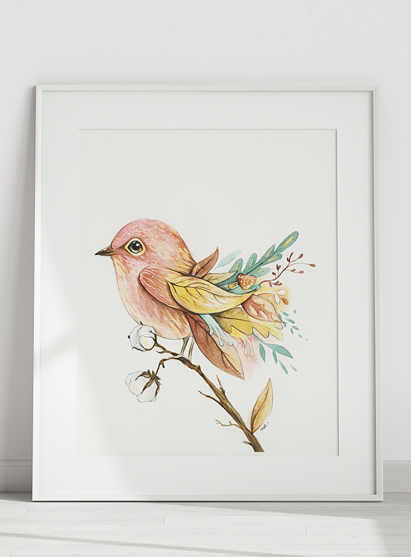 Mélanie Foster Illustrations Assorted pink Pink bird art print 2 sizes available