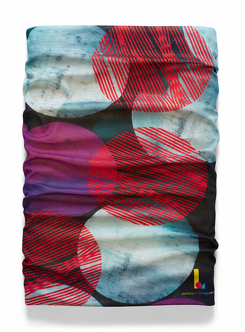 LALITA'S ART SHOP Patterned Red Colourful dot and teal microfibre tube scarf for women