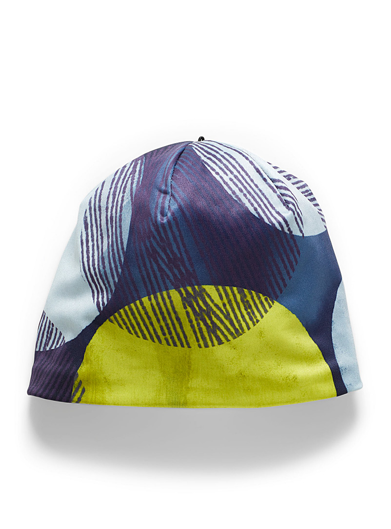 LALITA'S ART SHOP Patterned Blue Neon dot and teal microfibre tuque for women