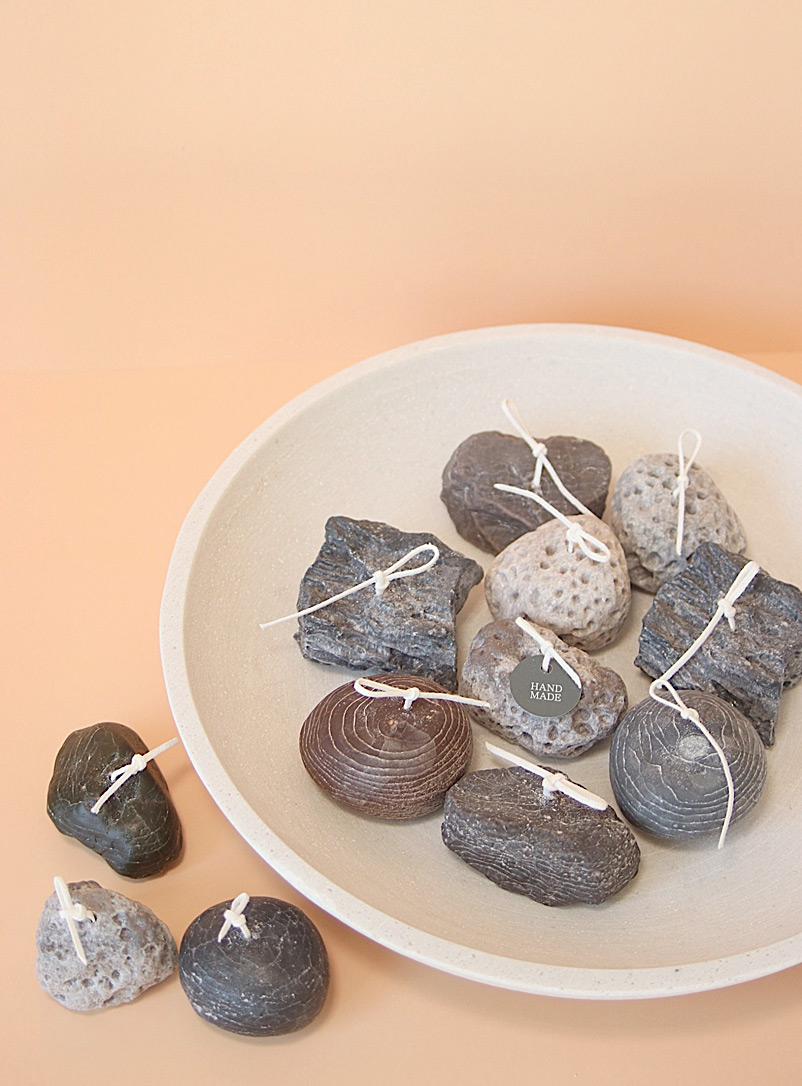 Candologie Grey Scented little pebbles candles Set of 12