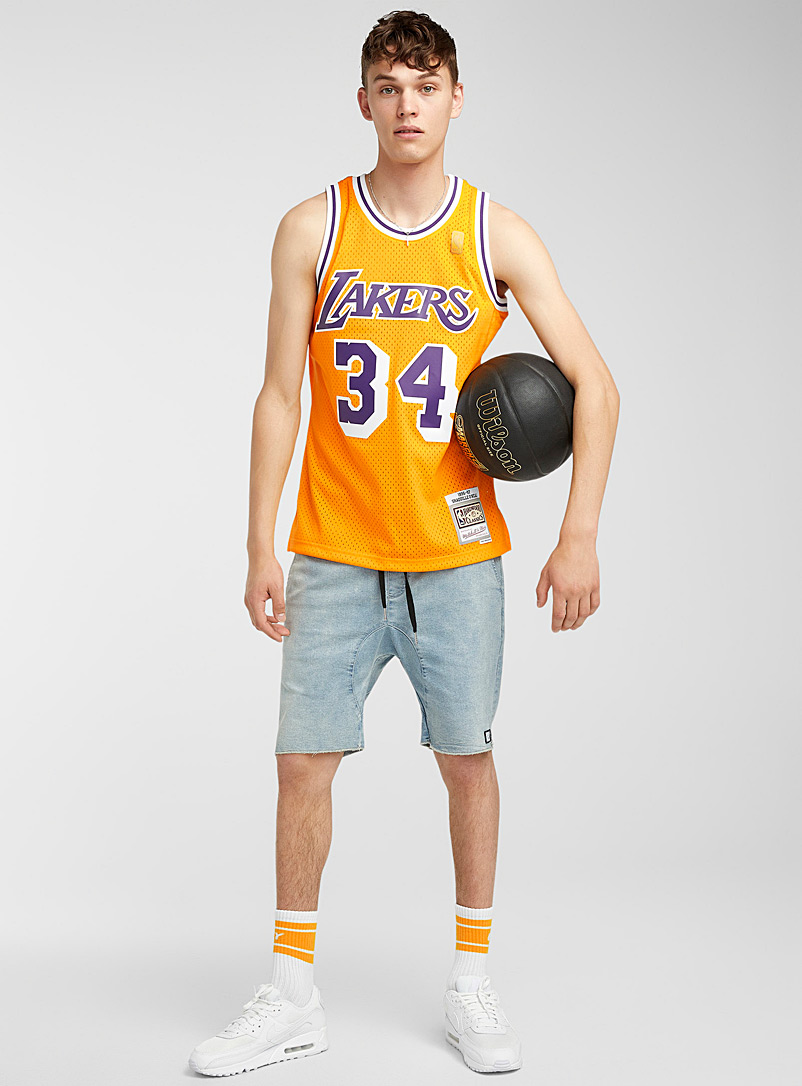 Mitchell & Ness: La camisole basketball O'Neal 34 Jaune or pour homme