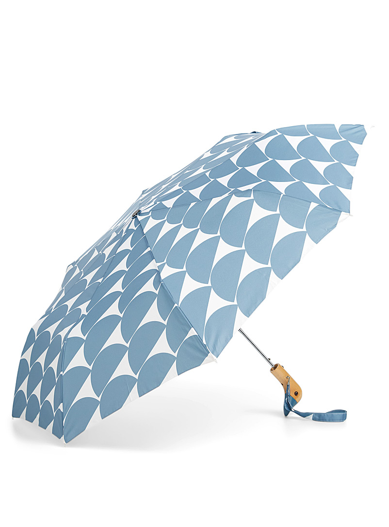Simons Baby Blue Duck handle compact patterned umbrella for women