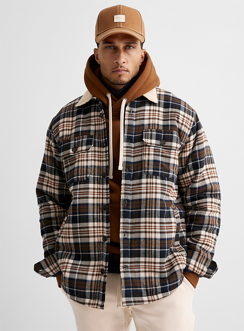 Le 31 Brown Sherpa-lined heritage overshirt for men