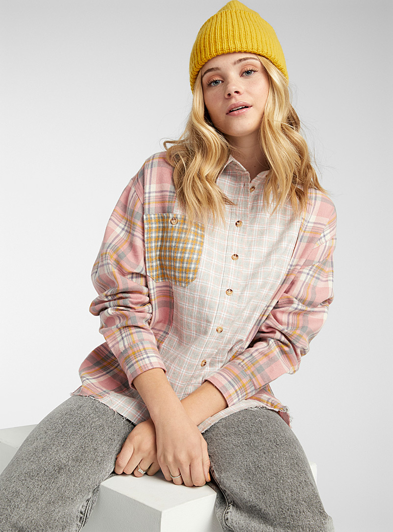 Twik Patterned Red Patchwork check flannel shirt for women