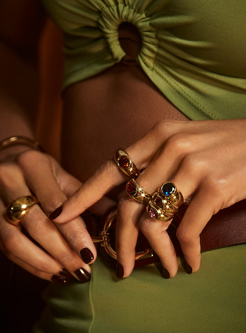 Luiny Red Colourful fine stone ring for women