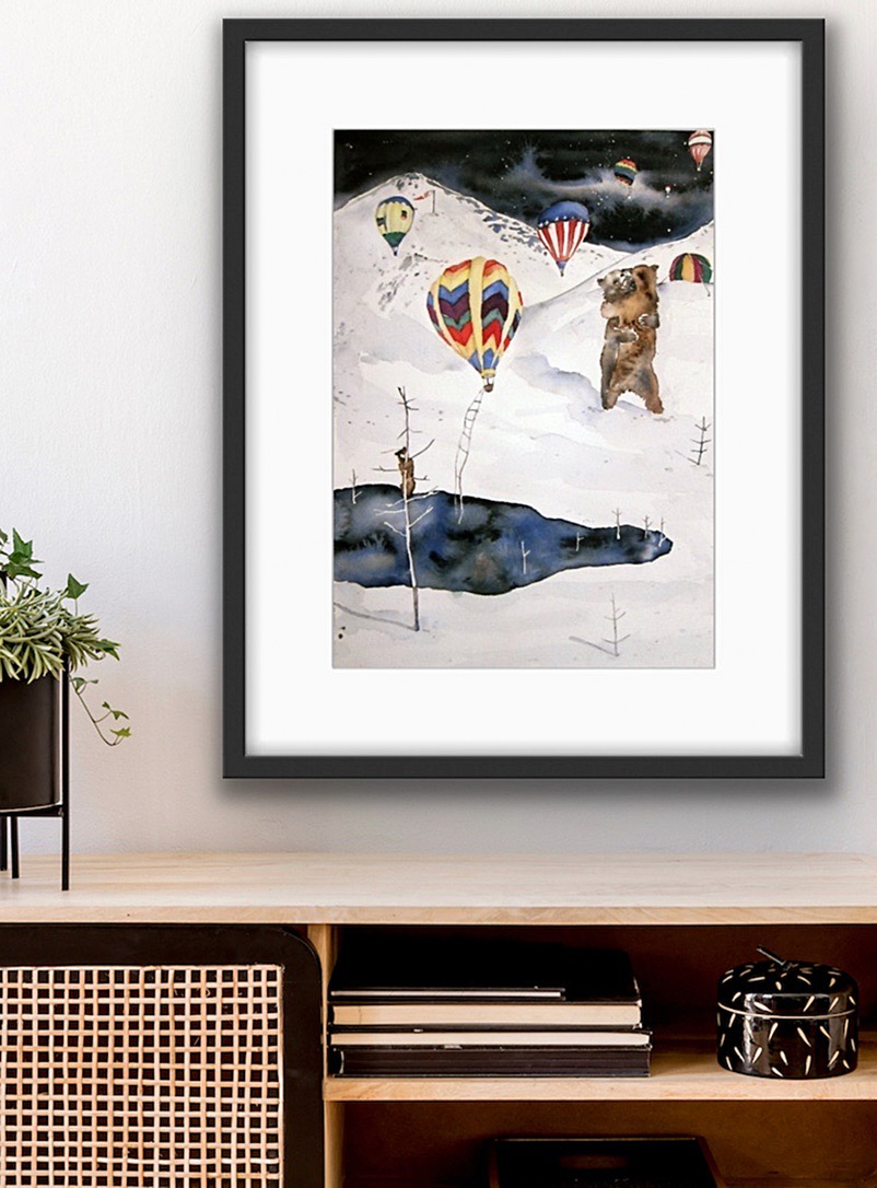 Gold Leaf Beasts Assorted Balloon Invasion art print 16 x 20 in