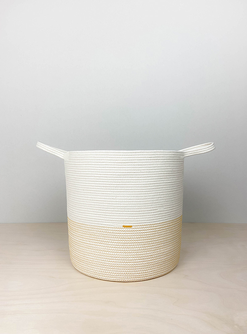 Crafting the Harvest Assorted yellow  Large two-tone rolled cotton rope basket