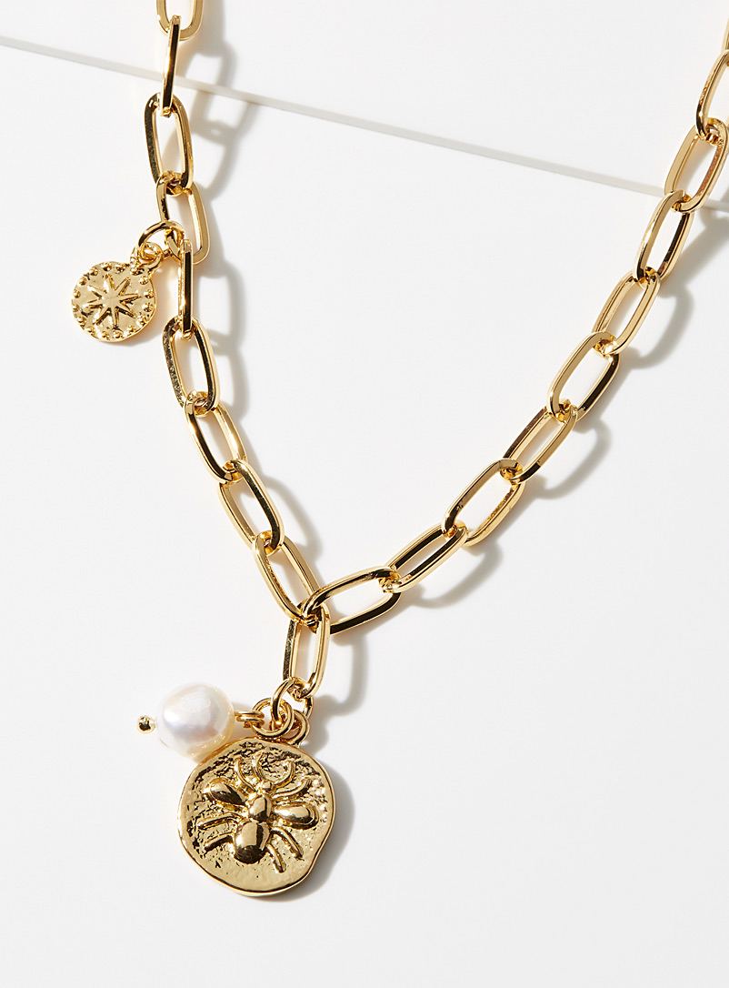 Simons Patterned Yellow Oversized multi-charm chain for women