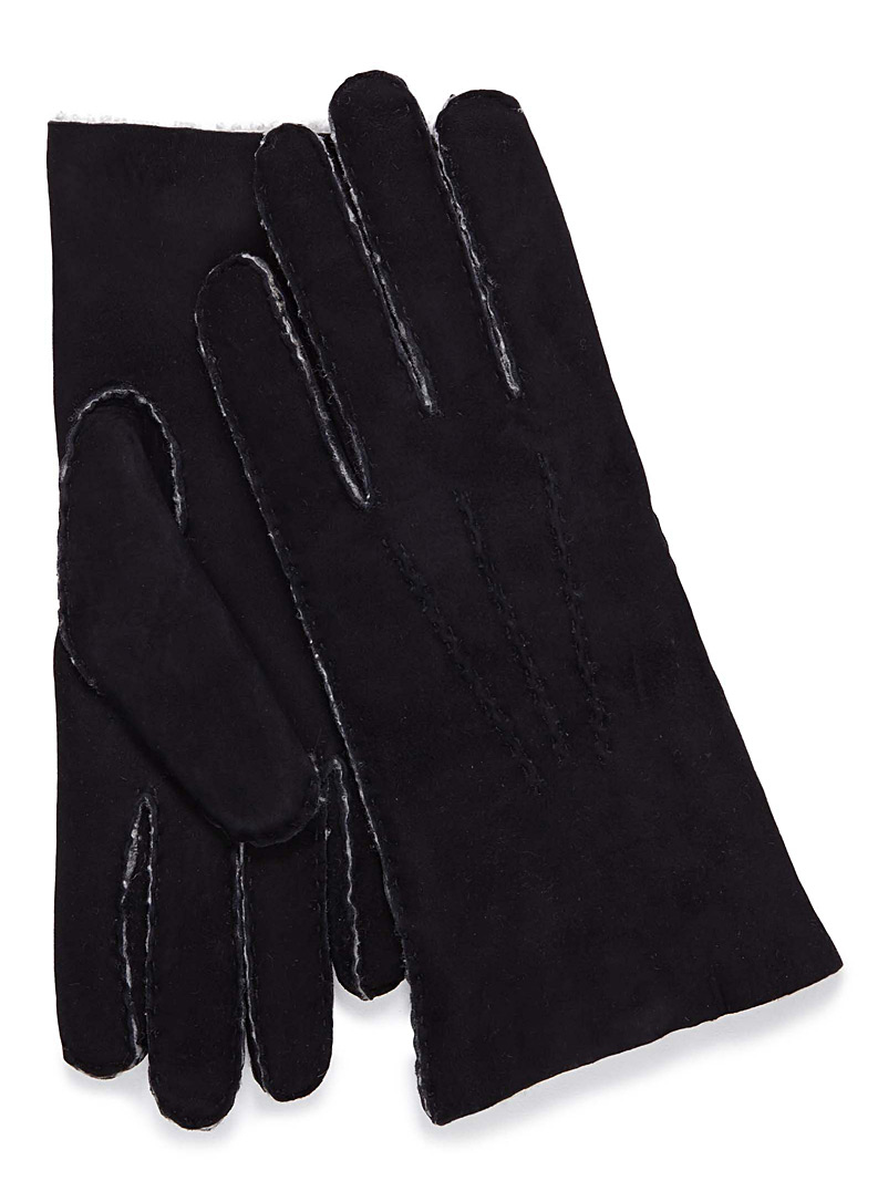 Simons Black Suede leather gloves for women