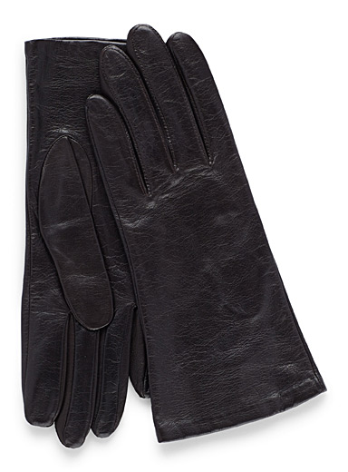 Simons Black Soft leather gloves for women