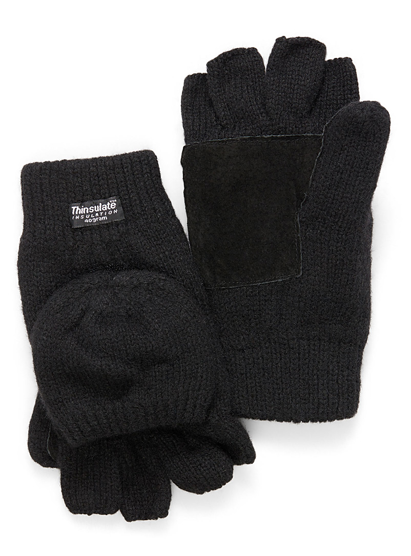 Heathered wool hooded gloves - Mittens - Black