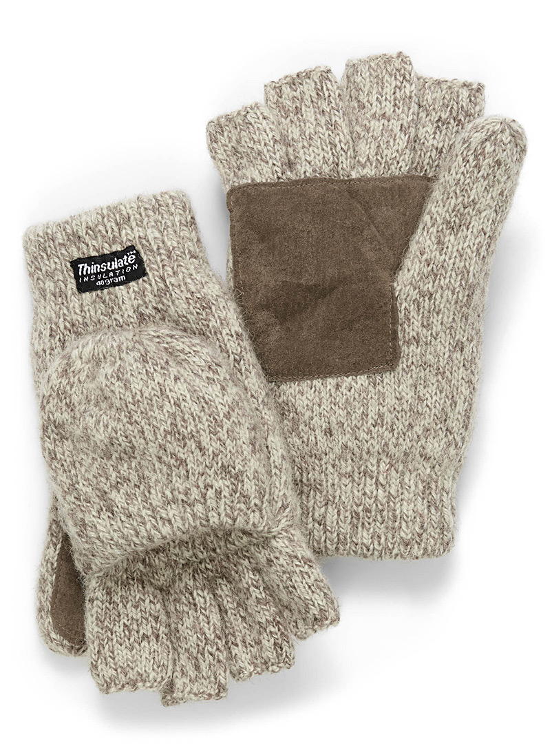 Heathered wool hooded gloves - Mittens - Sand