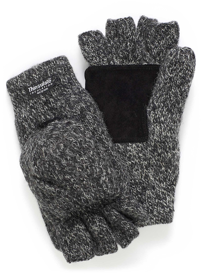 Le 31 Charcoal Heathered wool hooded gloves for men
