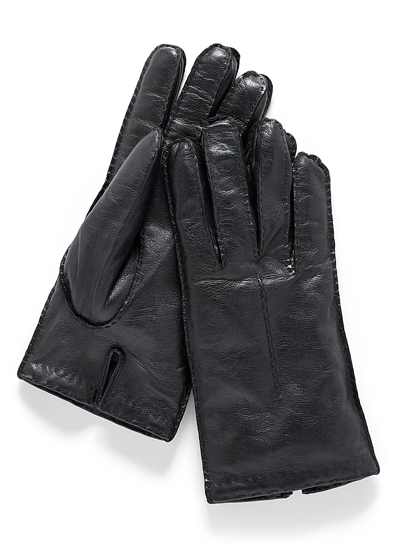 Seamed solid leather gloves - Leather & Suede - Black