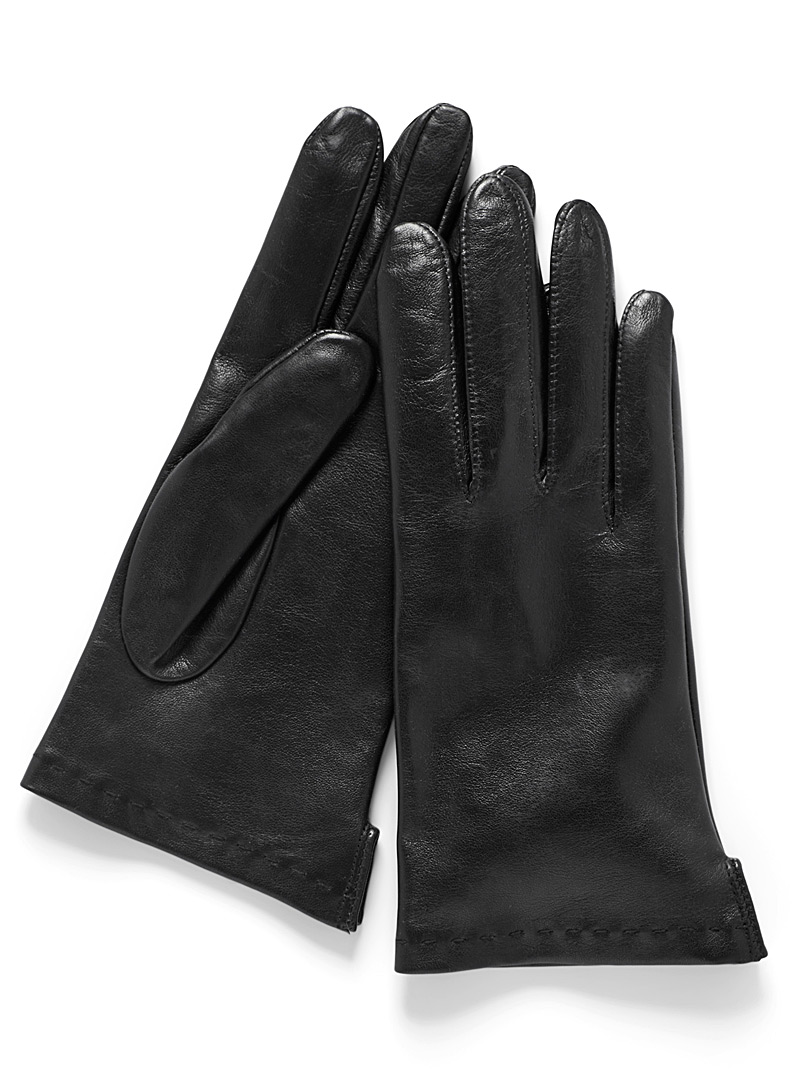Simons Black Smooth leather gloves for women
