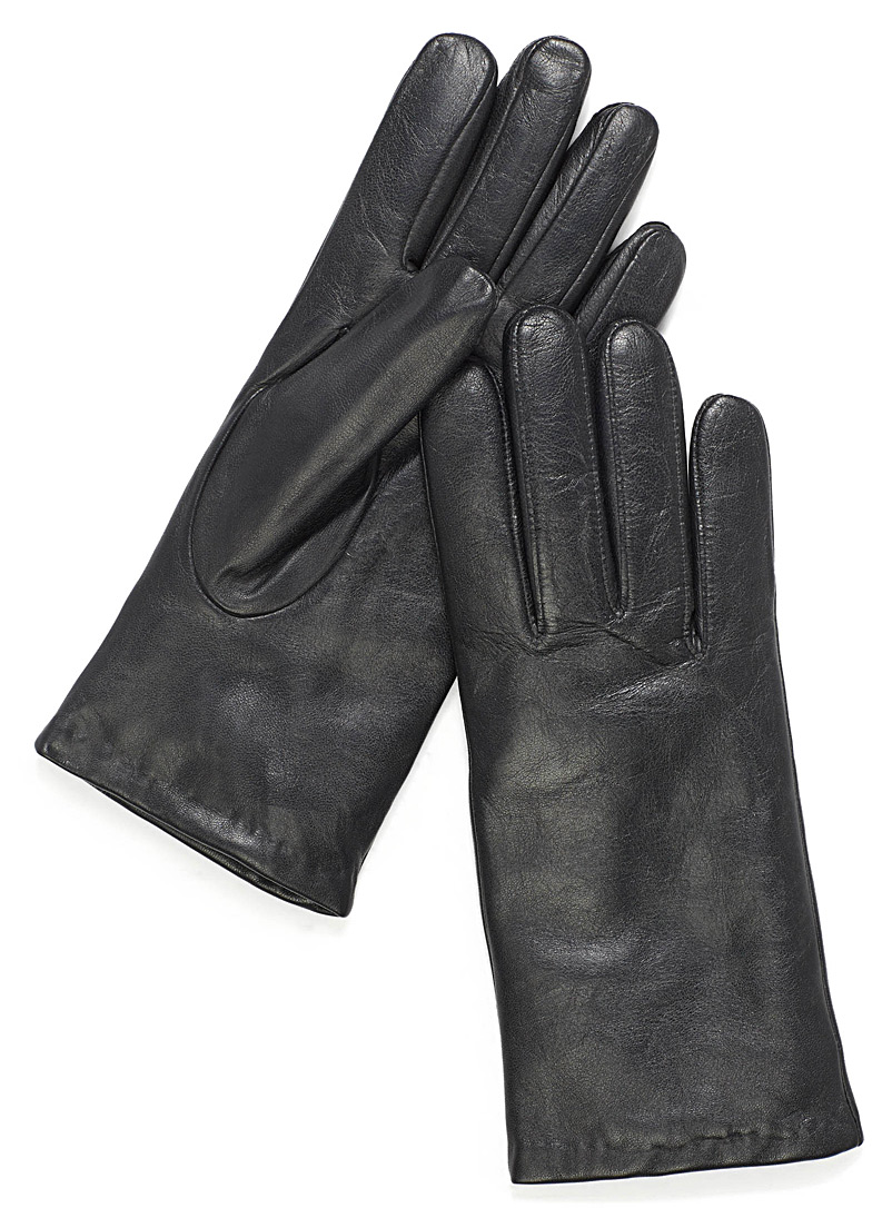 Rabbit fur-lined leather gloves - Leather & Suede - Black