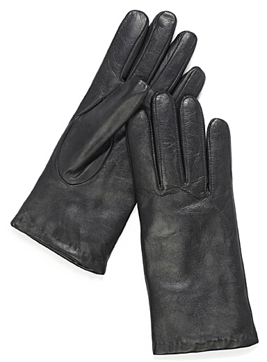 Rabbit fur-lined leather gloves