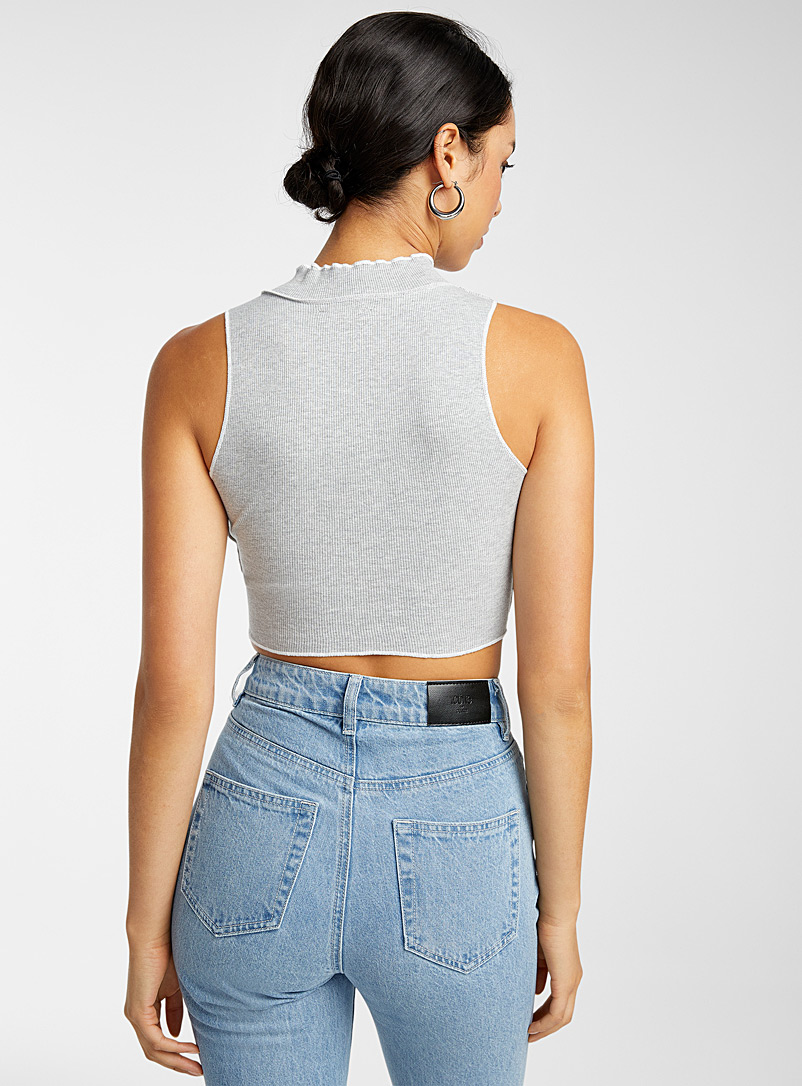 Icône Grey Graphic seams cropped cami for women