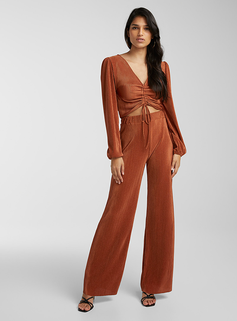 Icône Copper Wide-leg pleated pant for women