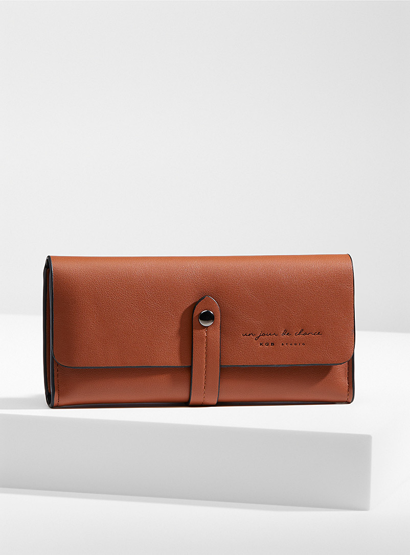 Simons Brown Minimalist belted wallet for women