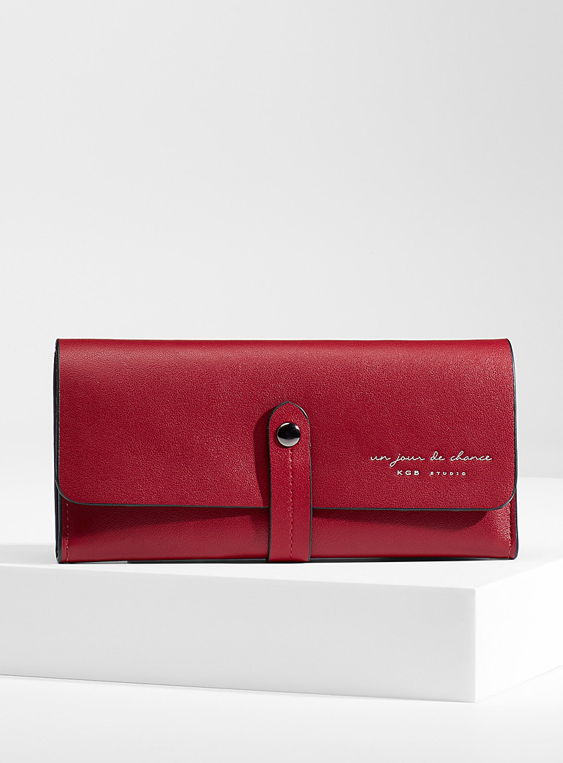Simons Red Minimalist belted wallet for women