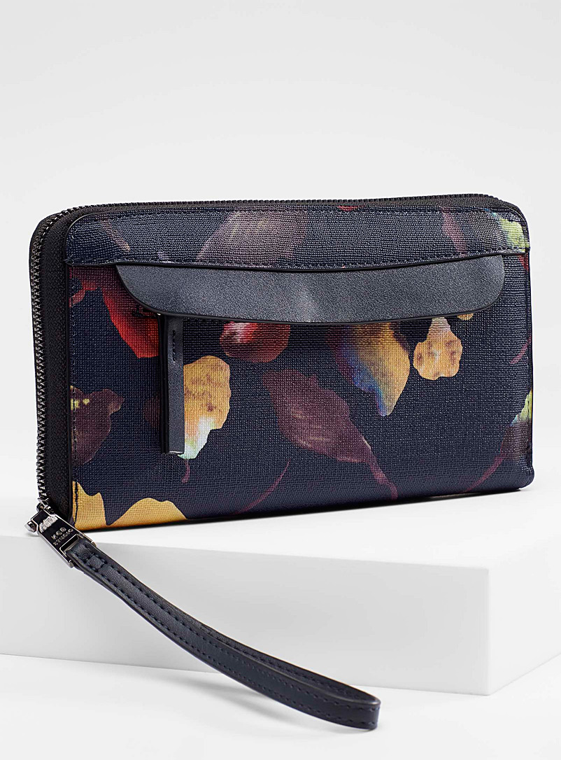 Painterly floral wallet - Wallets - Patterned Black