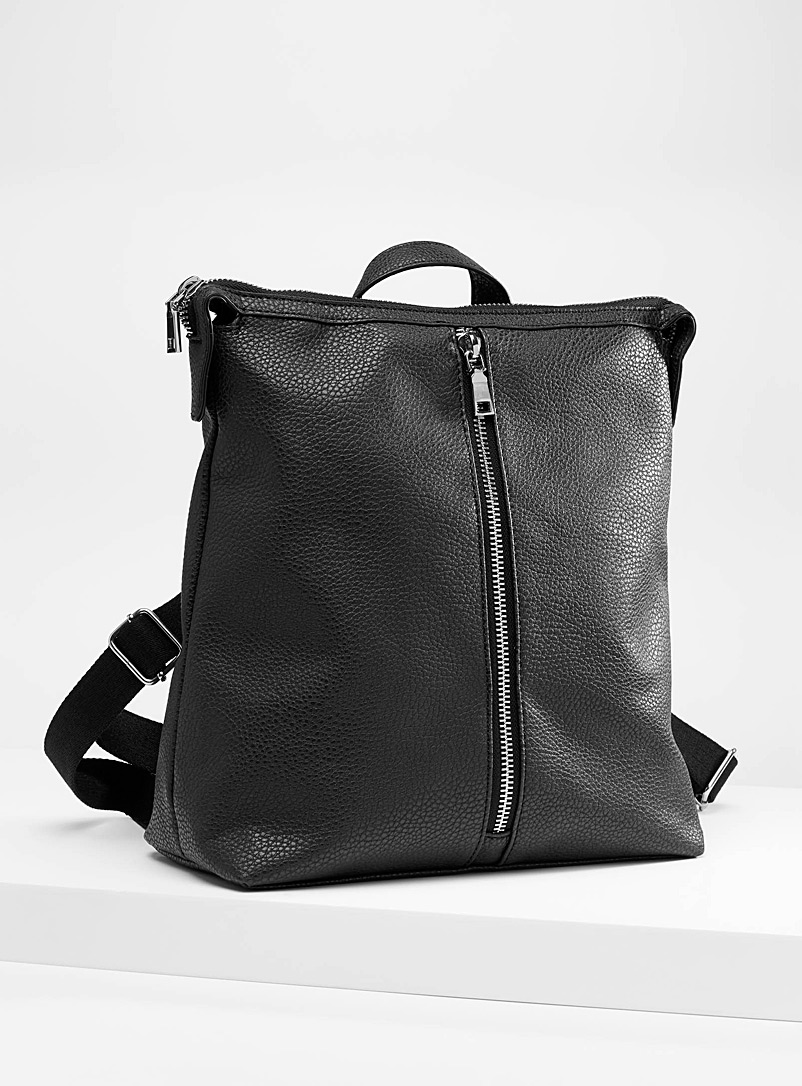 Faux-leather boxy backpack - Backpacks - Black
