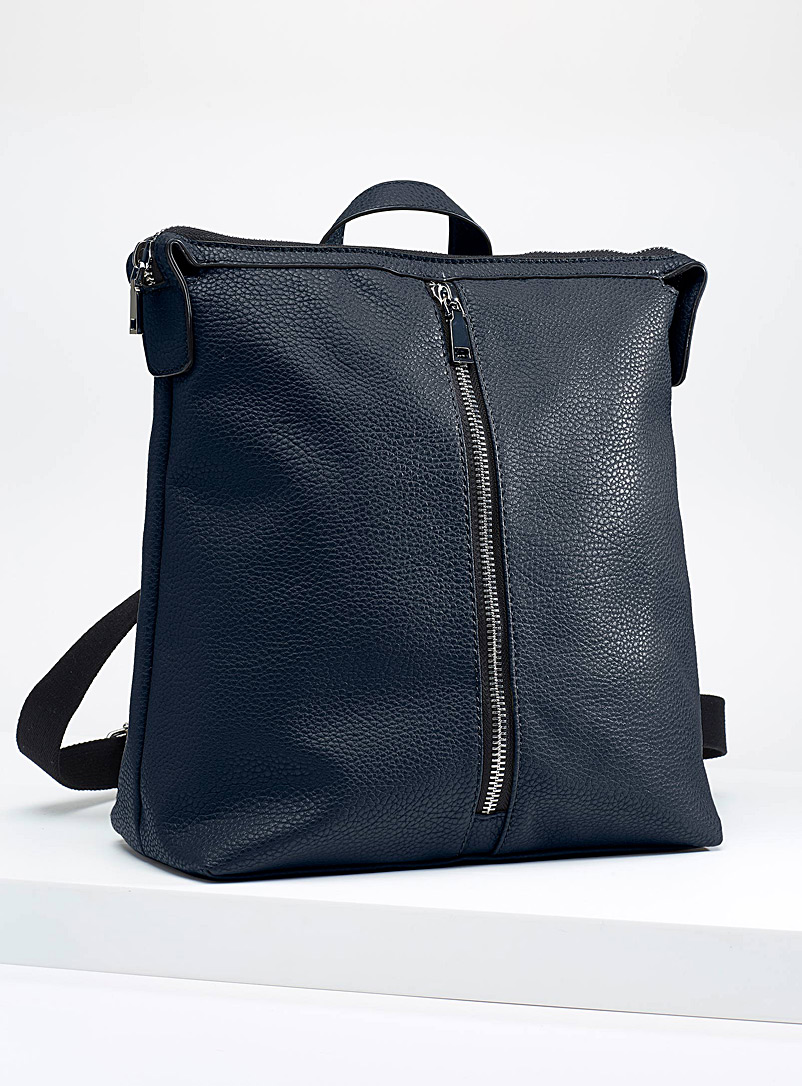 Simons Black Faux-leather boxy backpack for women