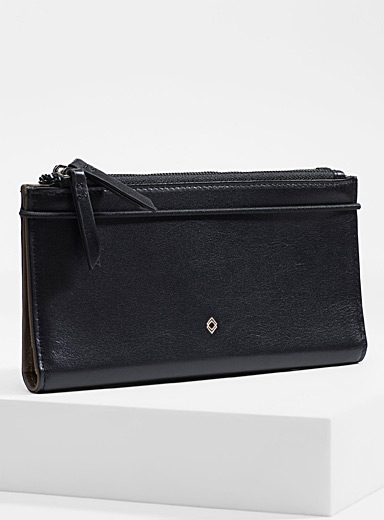 Double smooth leather wallet