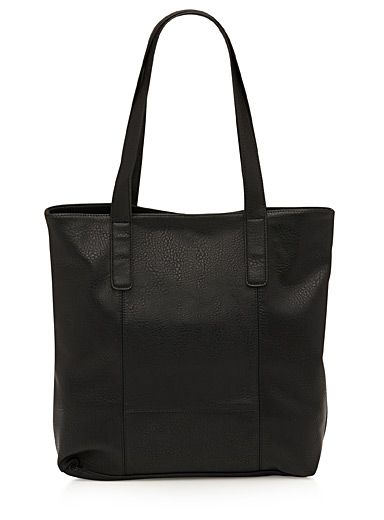 Pebbled faux-leather tote