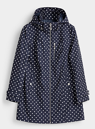 Chillax Patterned Blue Retro dot softshell coat for women