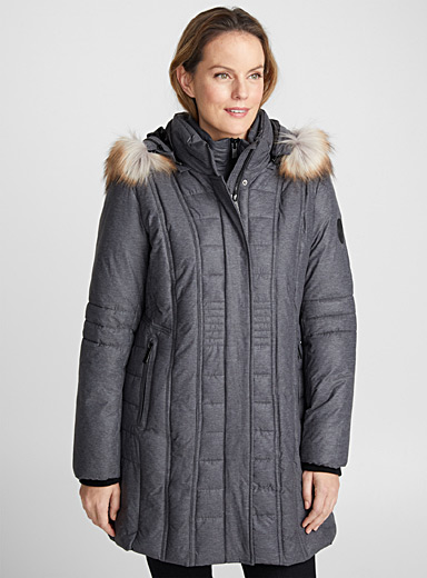 Graphic quilted coat