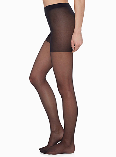 Filodoro Black Control top sheer pantyhose for women