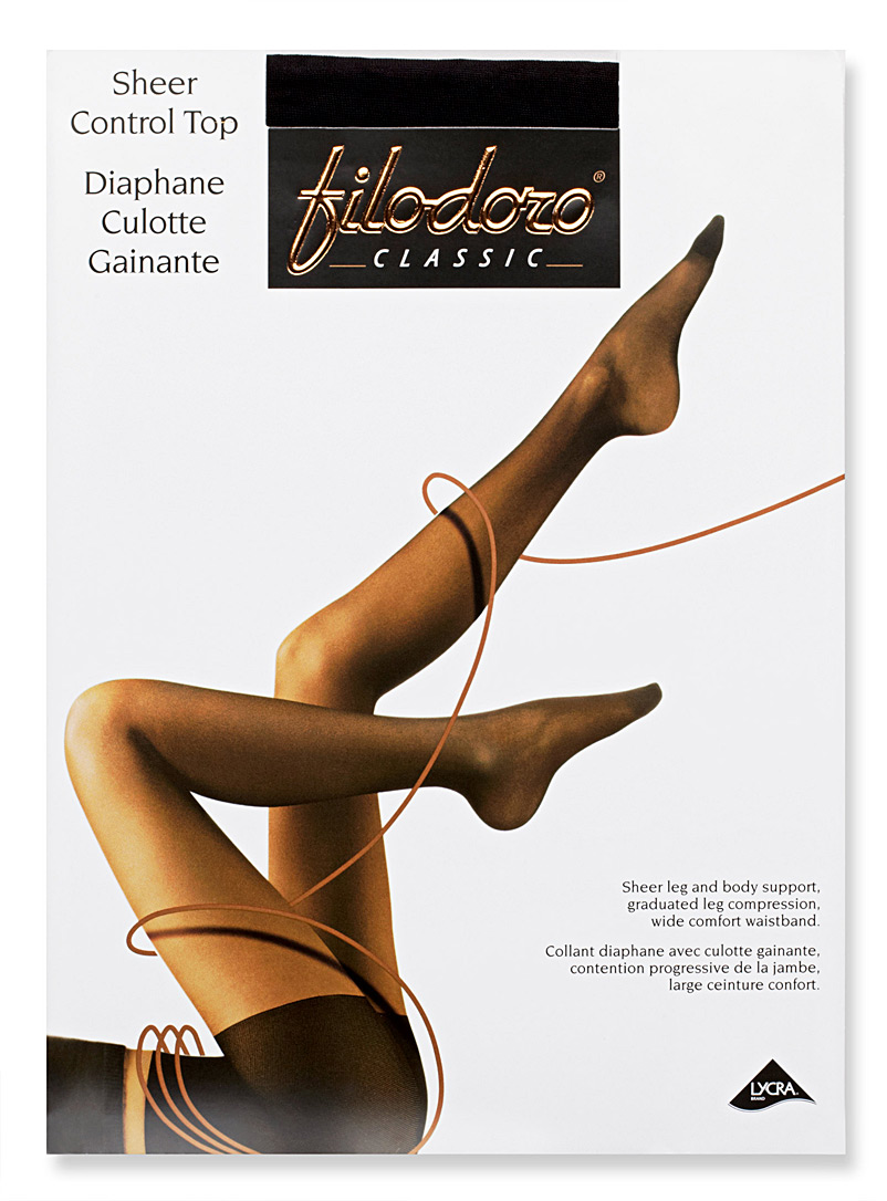 Filodoro Anthracite  Control top sheer pantyhose for women