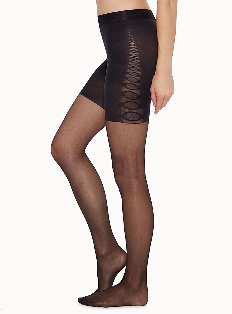 Voilà Black Control-top pantyhose for women