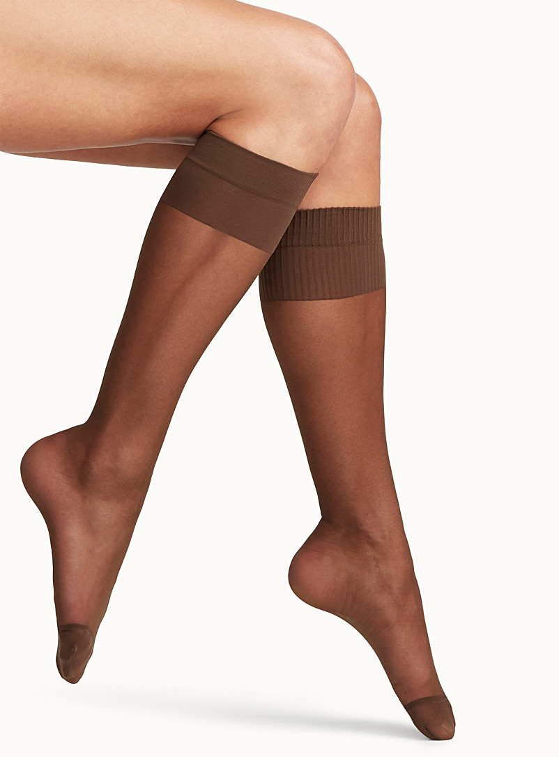 Comfort-band knee-highs - Knee-Highs -  Cappucino