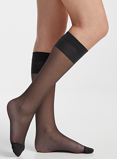 Filodoro Antracite Comfort-band knee-highs for women