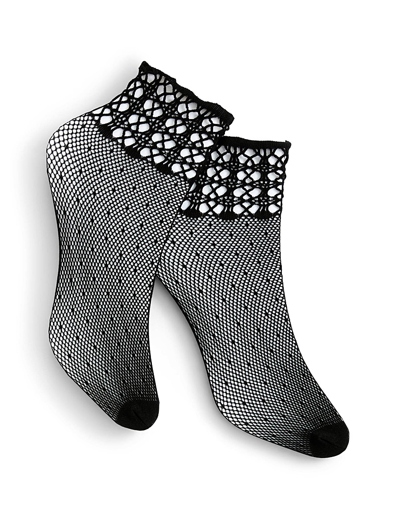 Crochet knit ankle socks