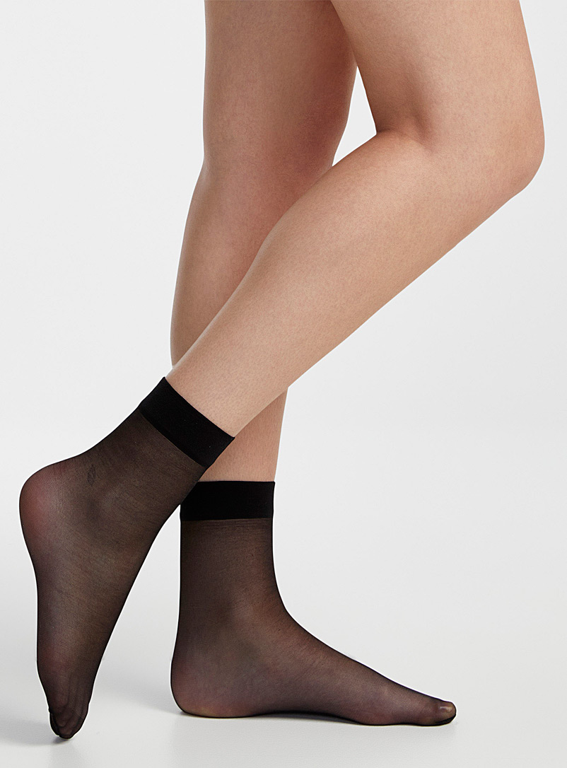 Filodoro Black Costa Dea opaque voile sock two-pack for women