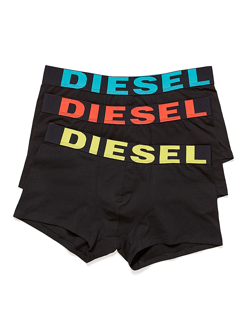Diesel Black Neon logo trunk  3-pack for men