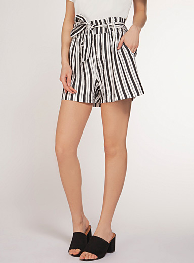 Dex Black and White TENCEL* striped paper bag short for women
