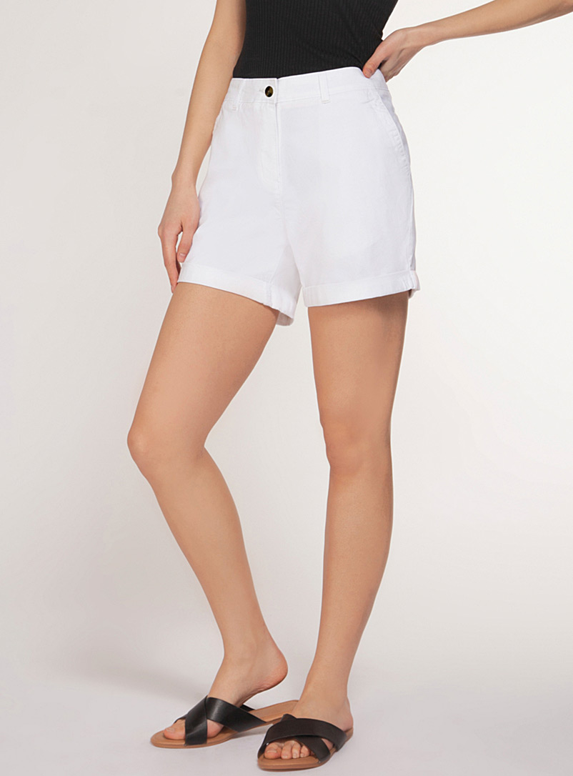 Dex Ivory White Minimalist stretch cotton short for women