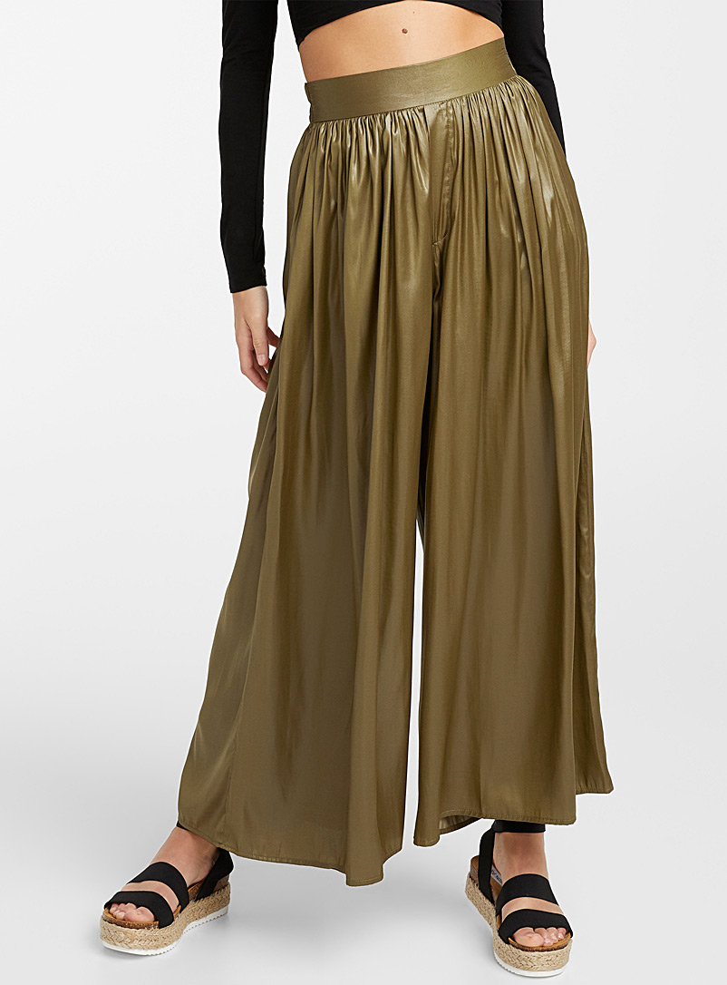 Icône Mossy Green Iridescent silky palazzo pant for women