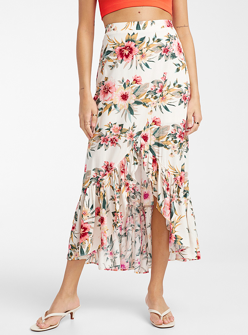 Ic?ne Patterned White Tropical floral ruffle skirt for women