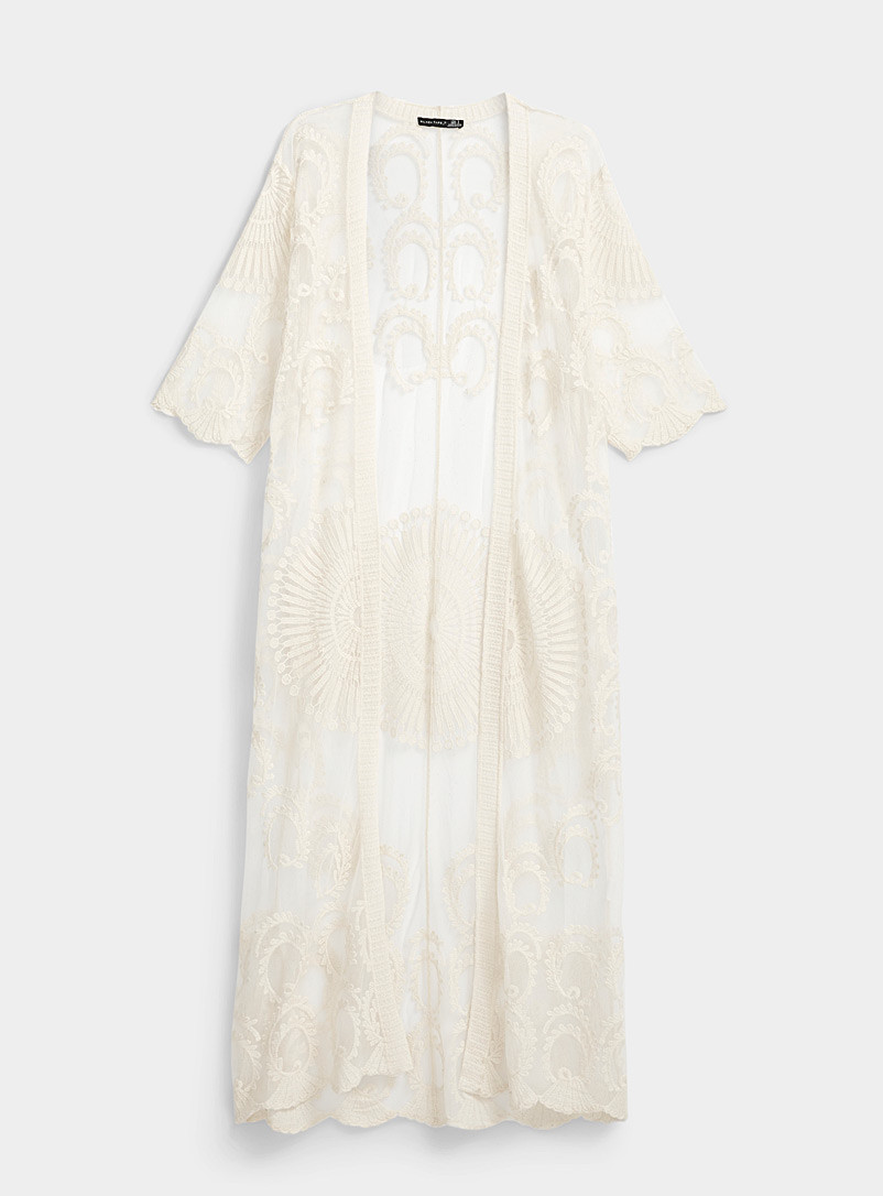 Ic?ne Ivory White Long lace tulle kimono for women